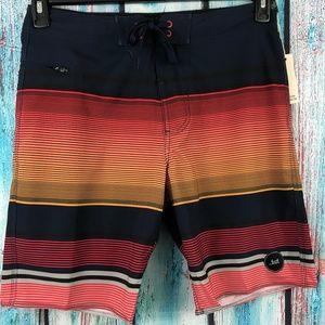 Rally Board Shorts Orange Striped Zip Side Pocket